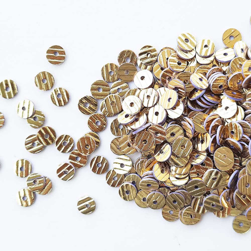 Sequins 5mm - Round Texture #1 - Golden & Lilac Edge - 20gms