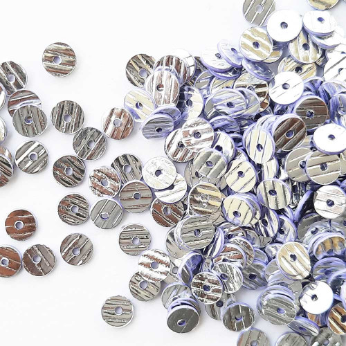 Sequins 5mm - Round Texture #2 - Silver & Lilac Edge – 20gms