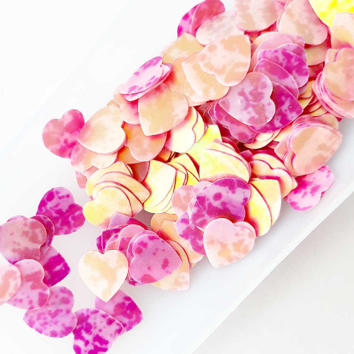 Sequins 10mm - Heart #7 - Pink Shaded - 20gms