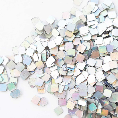 Sequins 4mm - Square #2 - Metallic Silver - 20gms