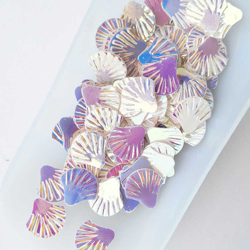 Sequins 12mm - Shell - White Rainbow - 20gms