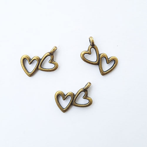 Charms 18mm Metal Heart #2 - Bronze - 3 Charms