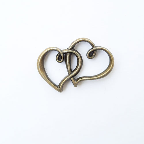 Charms 32mm Metal Heart #3 - Bronze - 1 Charm