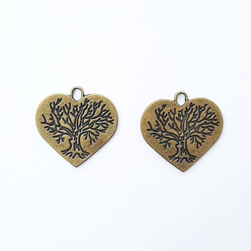 Charms 24mm Metal Heart #6 - Bronze - 2 Charms
