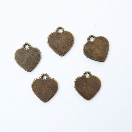 Charms 15mm Metal Heart #7 - Bronze - 5 Charms