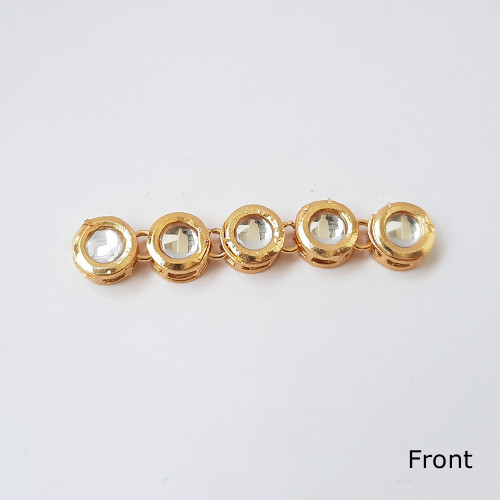 Dabba Kundan 9mm Round - White In Golden Setting - 5 Pieces