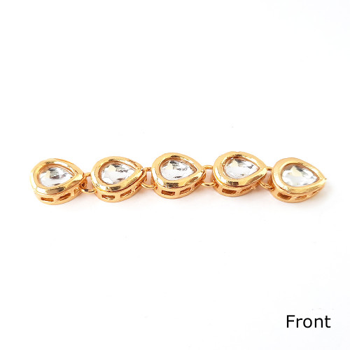 Dabba Kundan 12mm Drop - White In Golden Setting - 5 Pieces