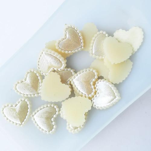 Flatback Pearls 14mm Heart #2 - Cream - Pack of 30