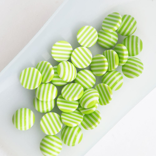Flatback Acrylic 10mm Round Lined - Light Green - Pack of 30