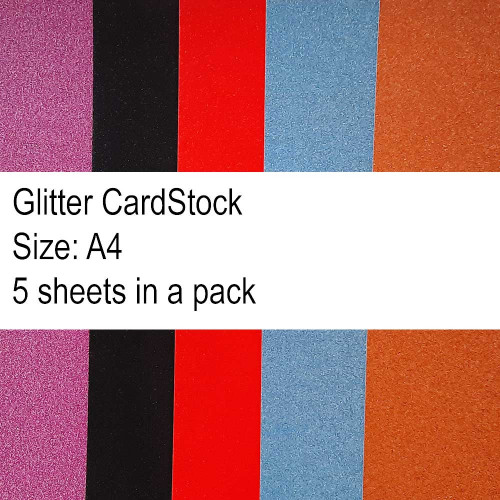 Glitter CardStock A4 - Assorted - 5 Sheets