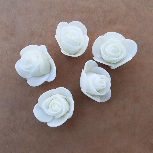 Foam Flowers #2 - 30mm Rose Off White - 5 Roses