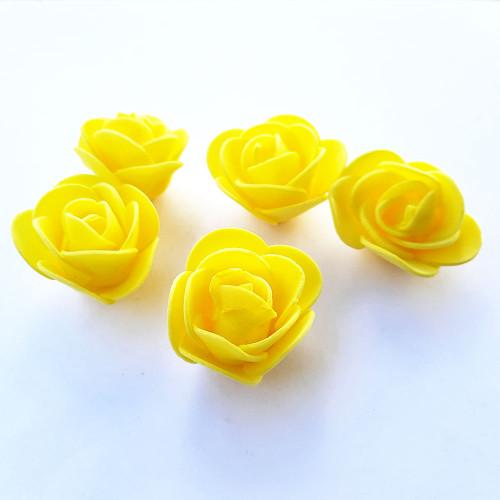 Foam Flowers #3 - 30mm Rose Sunflower Yellow - 5 Roses