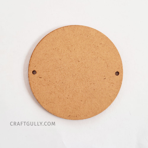 MDF Keychains #4 - 76mm Round 2 Holes - Pack of 1