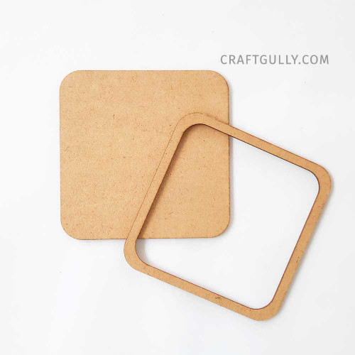 MDF Frames #2 - Square 3.75 inches - Set of 2