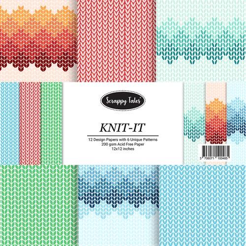 Pattern Paper 12x12 - Knit It - Pack of 12