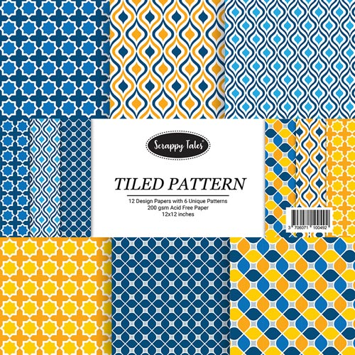 Pattern Paper 12x12 - Tiled Pattern - Pack of 12