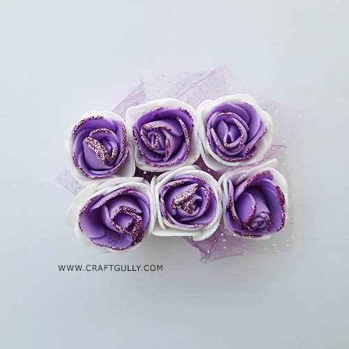 Foam Flowers #6 - 28mm Rose - Lilac & White With Glitter - 6 Roses