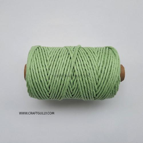 Cotton Macrame Cords 3mm - Single Strand Pastel Green - 20 meters