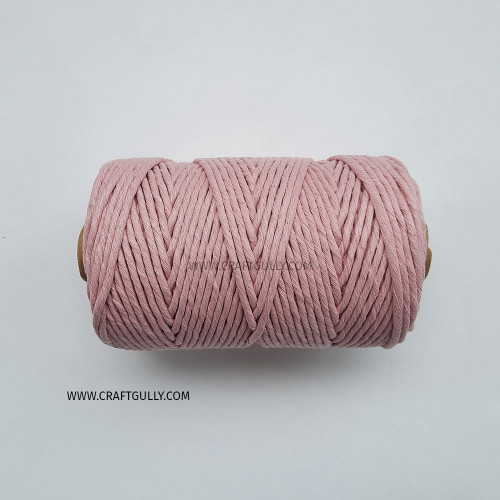 Cotton Macrame Cords 3mm - Single Strand Baby Pink - 20 meters