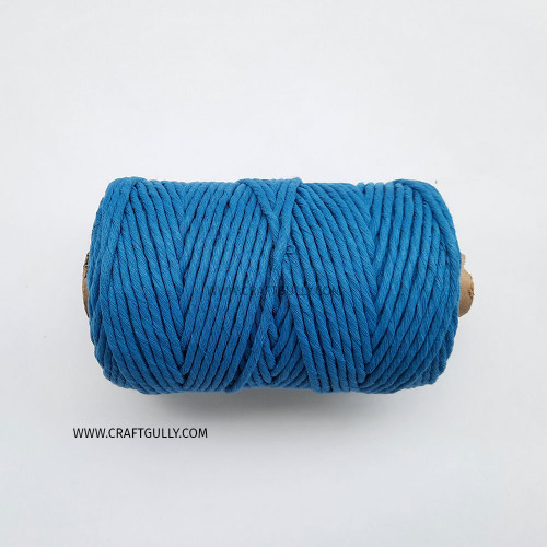 Cotton Macrame Cords 3mm - Single Strand Sea Blue - 20 meters