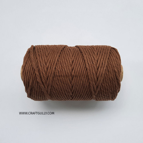 Cotton Macrame Cords 3mm - Single Strand Brown - 20 meters