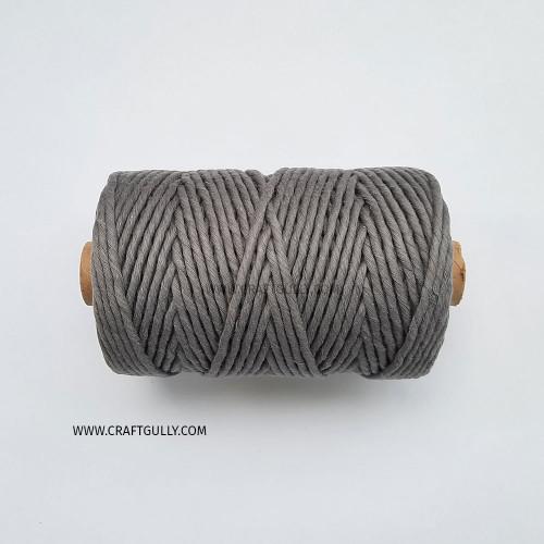 Cotton Macrame Cords 3mm - Single Strand Grey - 20 meters