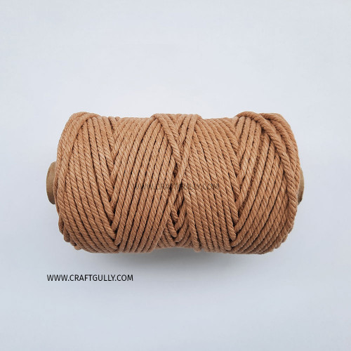 Cotton Macrame Cords 4mm - Twisted Light Brown - 20 meters
