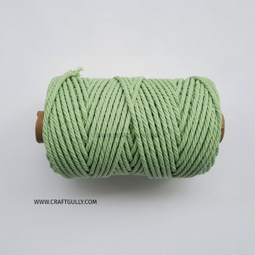 Cotton Macrame Cords 4mm - Twisted Pastel Green - 20 meters