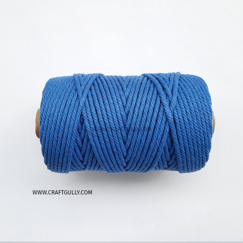 Cotton Macrame Cords 4mm - Twisted Royal Blue - 20 meters