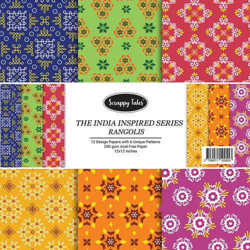 Pattern Papers 12x12 - Rangolis - Pack of 12
