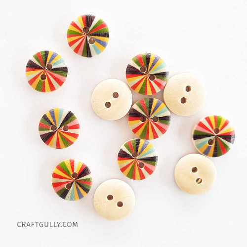 Wooden Buttons #11 - 15mm Round With Pattern - 12 Buttons