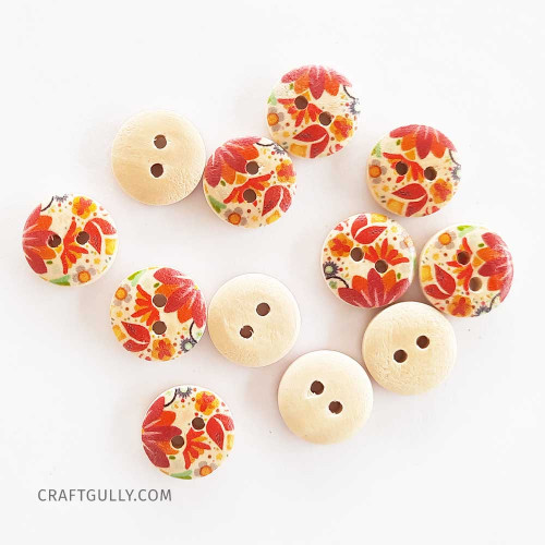 Wooden Buttons #12 - 15mm Round With Pattern - 12 Buttons