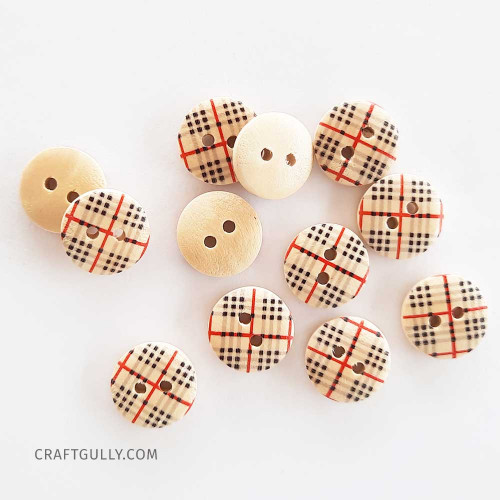 Wooden Buttons #13 - 15mm Round With Pattern - 12 Buttons