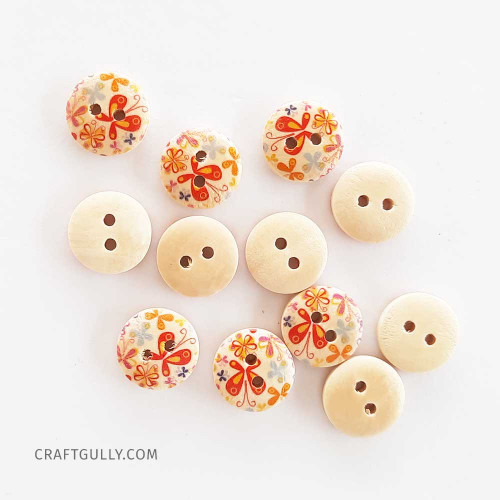 Wooden Buttons #14 - 15mm Round With Pattern - 12 Buttons