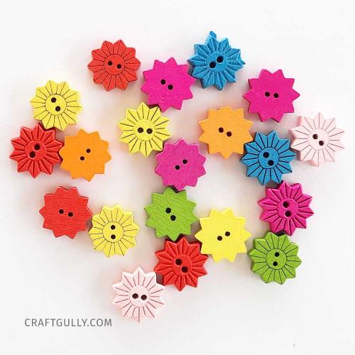 Wooden Buttons #15 - 15mm Sunflower Assorted - 20 Buttons