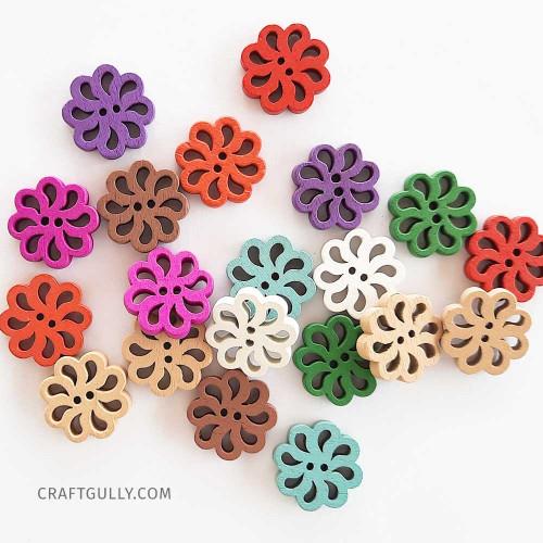 Wooden Buttons #16 - 20mm Flower Assorted - 20 Buttons
