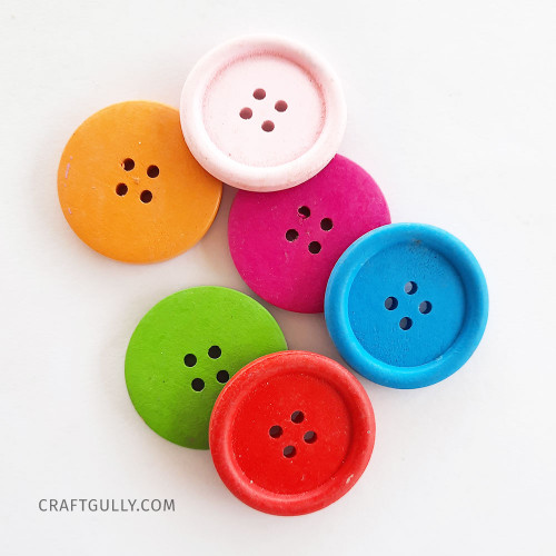 Wooden Buttons #17 - 35mm Round Assorted - 6 Buttons