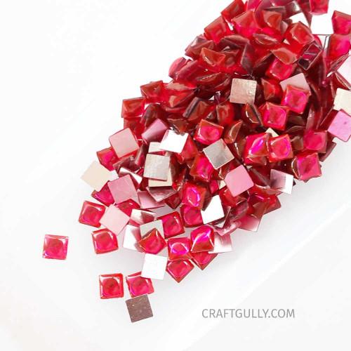 Kundan Stones 5mm Square - Dark Pink - 10gms