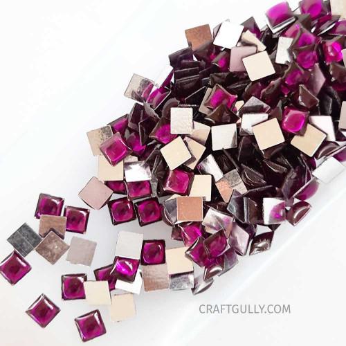 Kundan Stones 5mm Square - Purple - 10gms