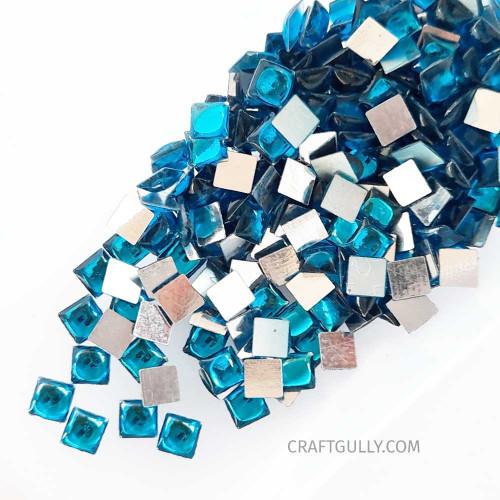 Kundan Stones 5mm Square - Sea Blue - 10gms