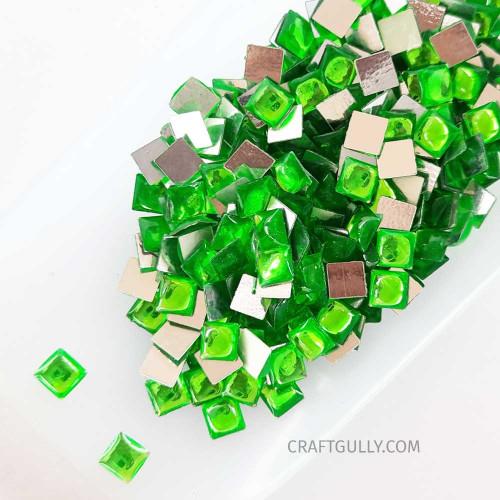 Kundan Stones 5mm Square - Light Green - 10gms