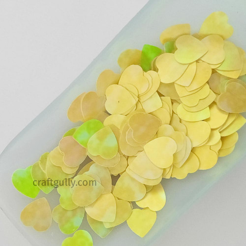 Sequins 10mm - Heart #9 - Yellow Shaded - 20gms