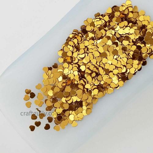 Sequins 3mm - Heart #10 - Golden - 20gms