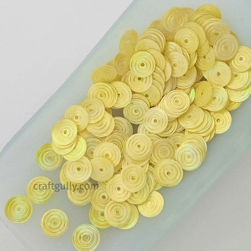 Sequins 8mm - Round Texture #4 - Bright Yellow - 20gms