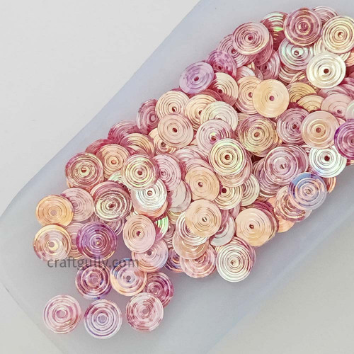 Sequins 8mm - Round Texture #5 - Pink Shaded - 20gms