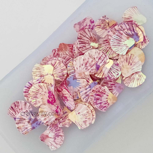 Sequins 12mm - Shell #2 - Pink Shaded - 20gms