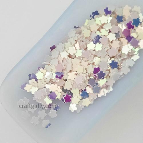 Sequins 5mm - Flower #4 - White Rainbow - 20gms