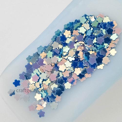 Sequins 5mm - Flower #5 - Blue - 20gms