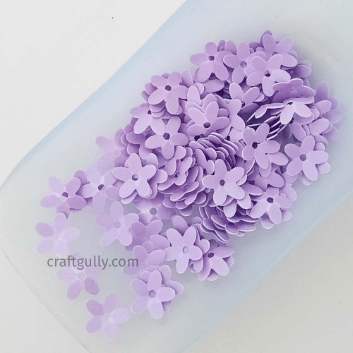 Sequins 9mm - Flower #6 - Lilac Matte Finish - 20gms