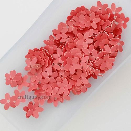 Sequins 9mm - Flower #6 - Coral Pink Matte Finish - 20gms